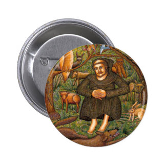 St. Francis in the Forest Gift, Key Chain Mug More 2 Inch Round Button