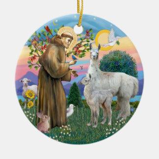 St Francis - Llama 12 and baby Ceramic Ornament