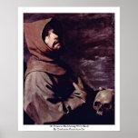 St. Francis Meditating With Skull Print