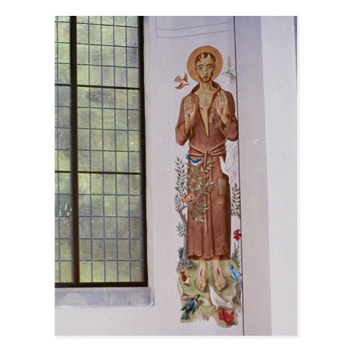 St francis mural in abbey postcard zazzle for Abbey road mural