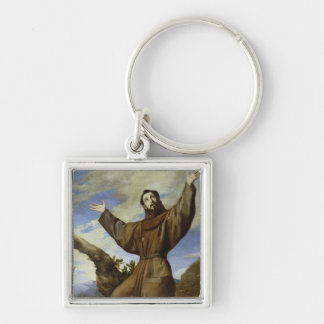 St. Francis of Assisi  1642 Silver-Colored Square Keychain