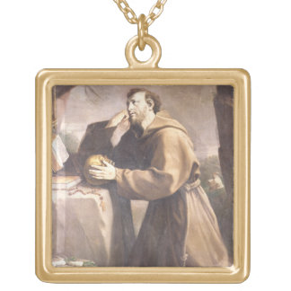 St. Francis of Assisi at Prayer Gold Plated Necklace