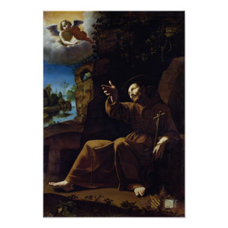 St. Francis of Assisi Consoled by an Angel Poster