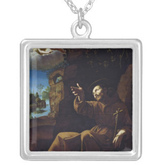 St. Francis of Assisi Consoled by an Angel Silver Plated Necklace