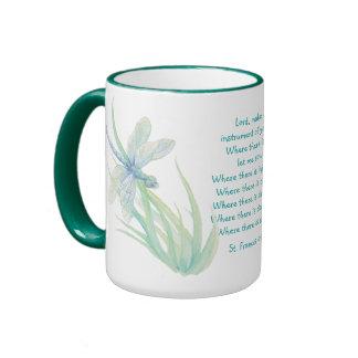St. Francis of Assisi Dragonfly in Blue Aqua Ringer Mug