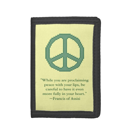 St Francis Of Assisi Peace Quote Tri Fold Wallet Zazzle
