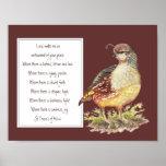 St. Francis of Assisi Prayer California Quail Bird Print
