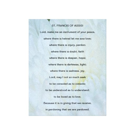 St Francis of Assisi Prayer Canvas Print | Zazzle