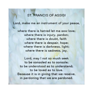 St Francis of Assisi Prayer Canvas Print