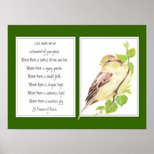 St. Francis of Assisi, Prayer Sparrow bird Posters