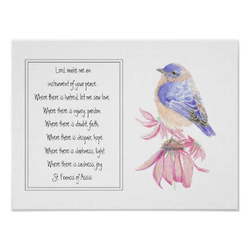 St. Francis of Assisi Prayer with Bluebird Flower Posters