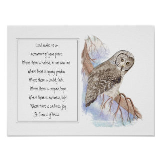 St. Francis of Assisi Prayer with Owl Bird Poster