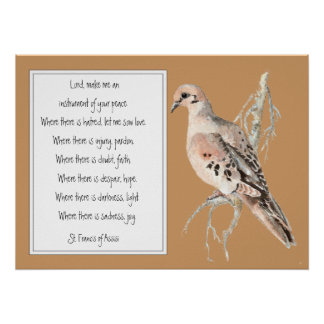 St. Francis of Assisi, Prayer with Watercolor Dove Poster