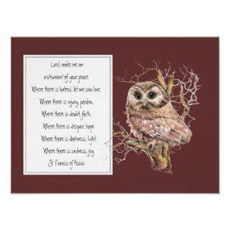St. Francis of Assisi Prayer with Wise Owl Bird Poster