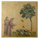 """St. Francis of Assisi preaching to the birds Ceramic Tile<br><div class=""""desc"""">Image Collection Number:  XIR33525  St. Francis of Assisi preaching to the birds (oil on panel). Giotto di Bondone (c.1266-1337) oil on panel. Louvre,  Paris,  France .  13th</div>"""