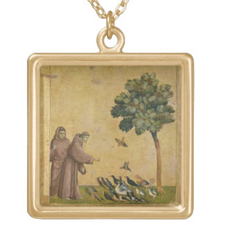 St. Francis of Assisi preaching to the birds Gold Plated Necklace