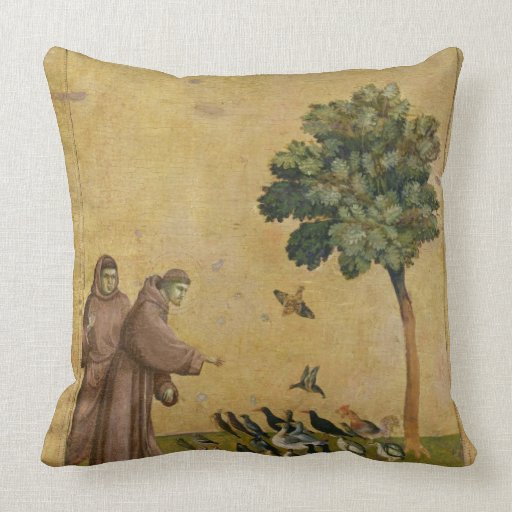 St. Francis of Assisi preaching to the birds Throw Pillow