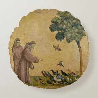 St. Francis of Assisi preaching to the birds Round Pillow