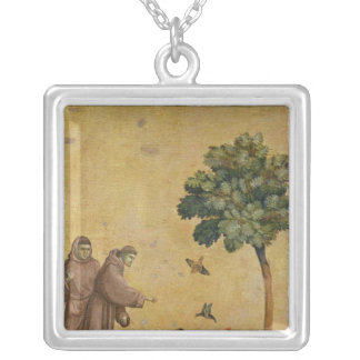 St. Francis of Assisi preaching to the birds Silver Plated Necklace