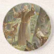 St. Francis of Assisi Surrounded by Animals Sandstone Coaster