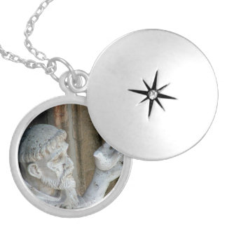 St Francis of Assisi with bird Locket Necklace