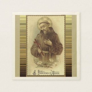 St. Francis of Assisi with Crucifix Lilies Paper Napkin