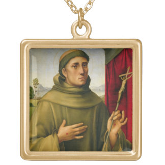 St. Francis of Assissi, c.1490 (tempera on panel) Gold Plated Necklace