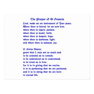 St Francis Prayer Postcard