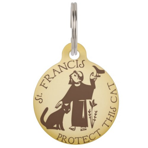 St Francis Protect This Cat Pet ID Tag