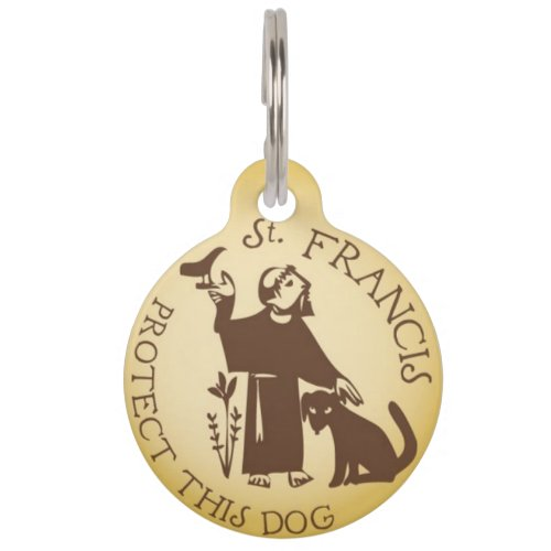 St Francis Protect This Dog Pet ID Tag
