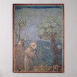 St Francis que predica a los pájaros, 1297-99 Póster