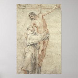 St Francis que rechaza el mundo y el abarcamiento Póster