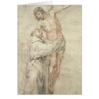 St Francis que rechaza el mundo y el abarcamiento Tarjetón