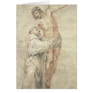 St Francis que rechaza el mundo y el abarcamiento Tarjeta De Felicitación
