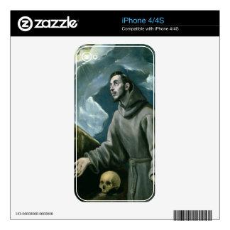 St Francis que recibe los estigmas (aceite en lona Calcomanía Para El iPhone 4S