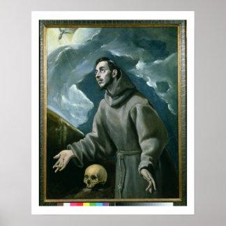 St Francis que recibe los estigmas (aceite en lona Póster