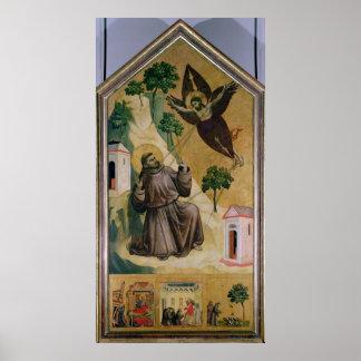 St Francis que recibe los estigmas, c.1295-1300 Póster