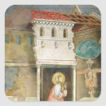 St Francis que ruega en la iglesia de San Colcomanias Cuadradas Personalizadas