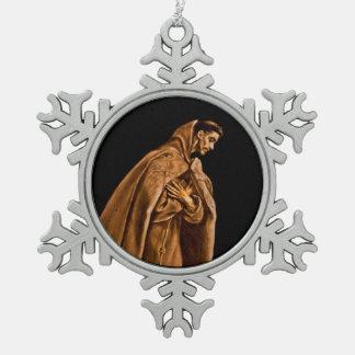 St Francis que se arrodilla en rezo Adorno De Peltre En Forma De Copo De Nieve