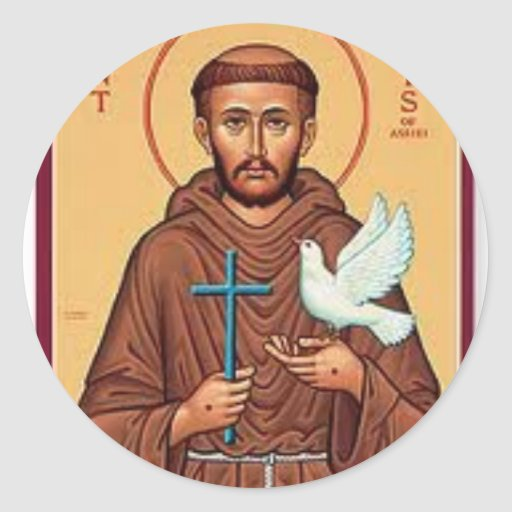 St Francis que sostiene el regalo de la cruz y de Pegatinas Redondas