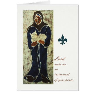 St Francis que sostiene un gato, tarjeta católica