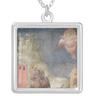 St. Francis Receiving the Stigmata, 1297-99 Silver Plated Necklace