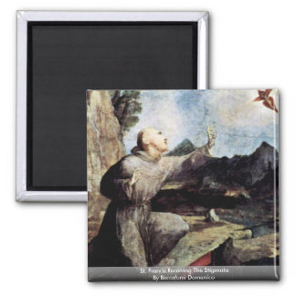 St. Francis Receiving The Stigmata 2 Inch Square Magnet