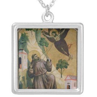 St. Francis Receiving the Stigmata, c.1295-1300 Square Pendant Necklace