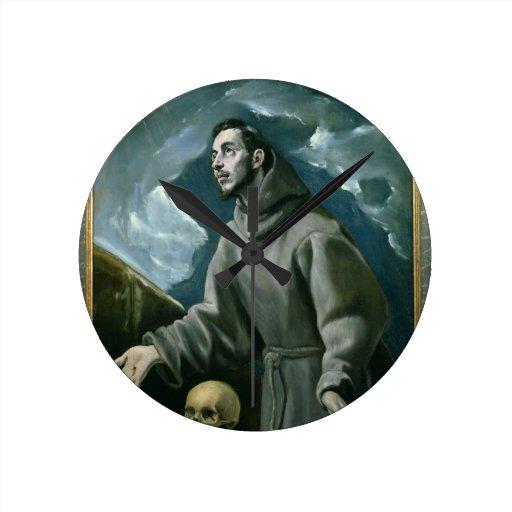 St. Francis Receiving the Stigmata (oil on canvas) Wall Clocks