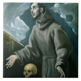 St. Francis Receiving the Stigmata (oil on canvas) Tile