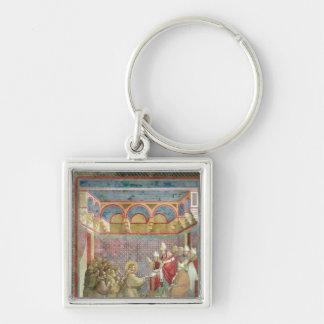 St Francis recibe la aprobación Llavero Cuadrado Plateado