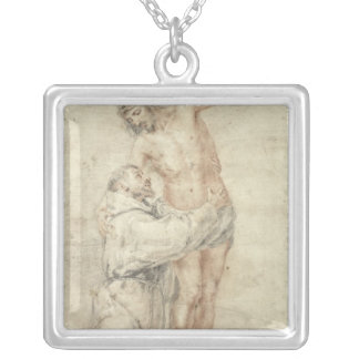 St. Francis Rejecting the World and Embracing Silver Plated Necklace
