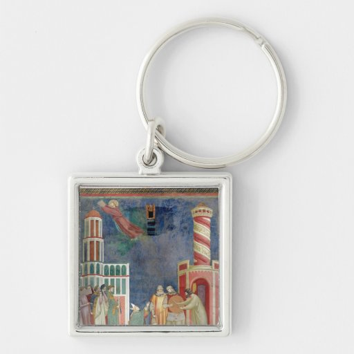 St. Francis Releases the Heretic, 1297-99 Silver-Colored Square Keychain