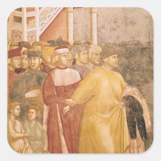 St Francis renuncia todas las mercancías mundanas Pegatina Cuadrada
